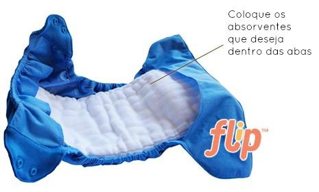 Aqui está o exemplo da Fralda Capa Flip da Bumgenius